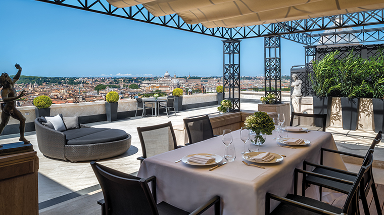 Super panoramic terrace of the penthouse, a perfect set for private intimate wedding receptions