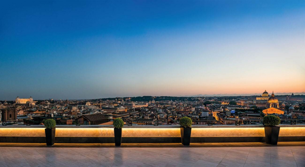 Spectacular night view over Rome's main monuments from the amazing suite of wedding hotel