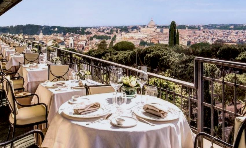 An elegant restaurant for weddings in rome , attentive service , and utterly views over the city