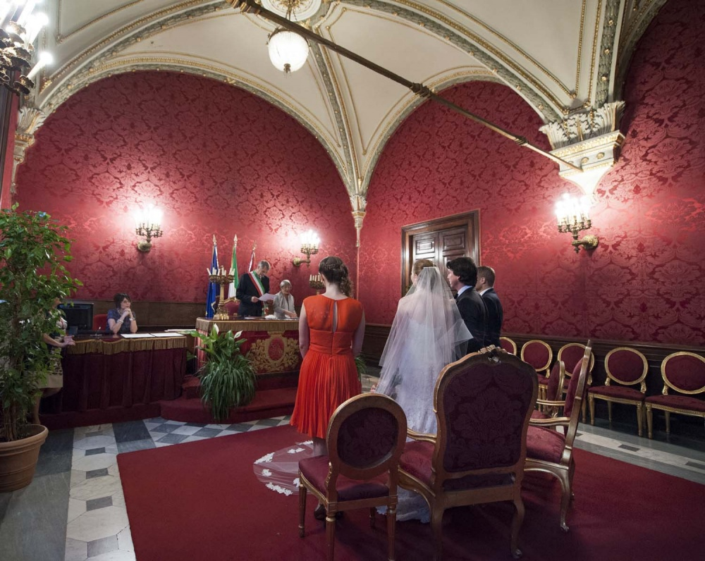 View of the Red Hall in Campidoglio in Rome during the wedding legal ceremony