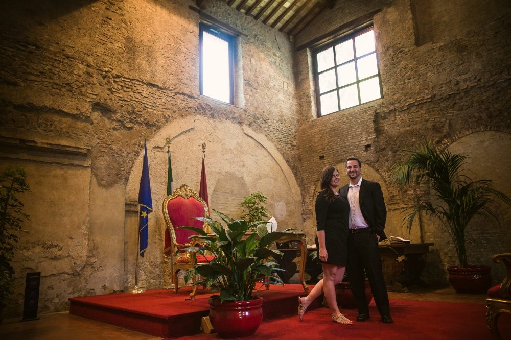 Bride and groom portrait in Vignola Mattei ceremony venue in Rome