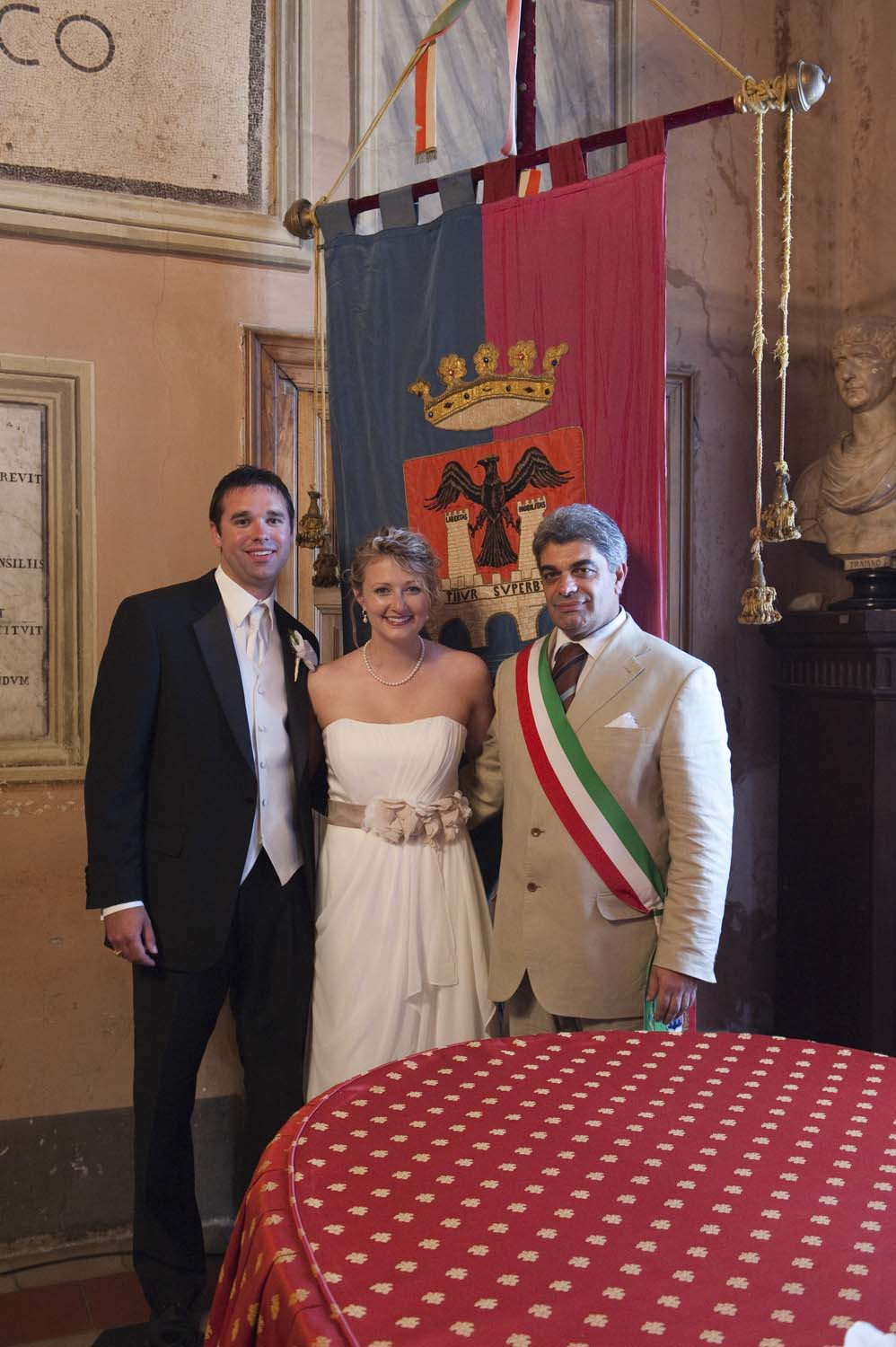 Bride, groom and the Mayor after the ceremony in Tivoli, Rome