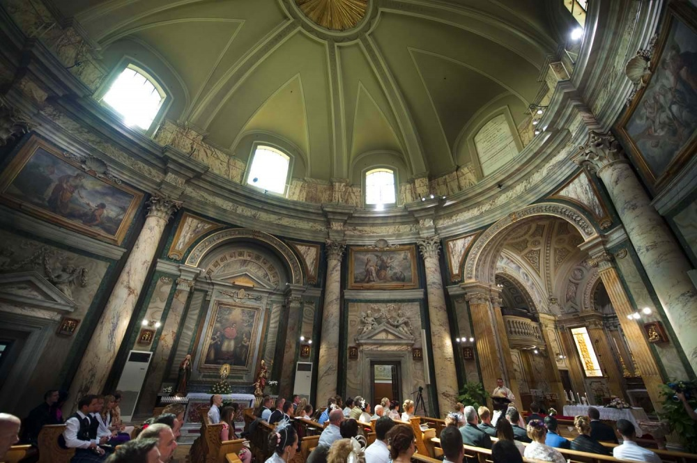 Catholic wedding ceremony in a church in the Vatican Rome