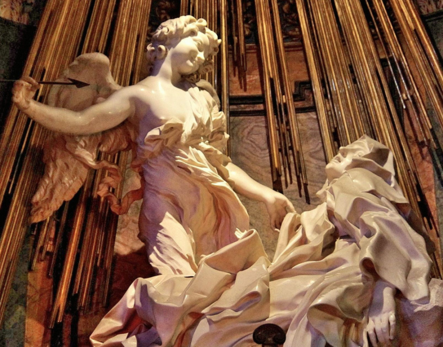 Detail main attraction of this wedding church th ecstasy of St Teresa a sumptuous marble scuplture