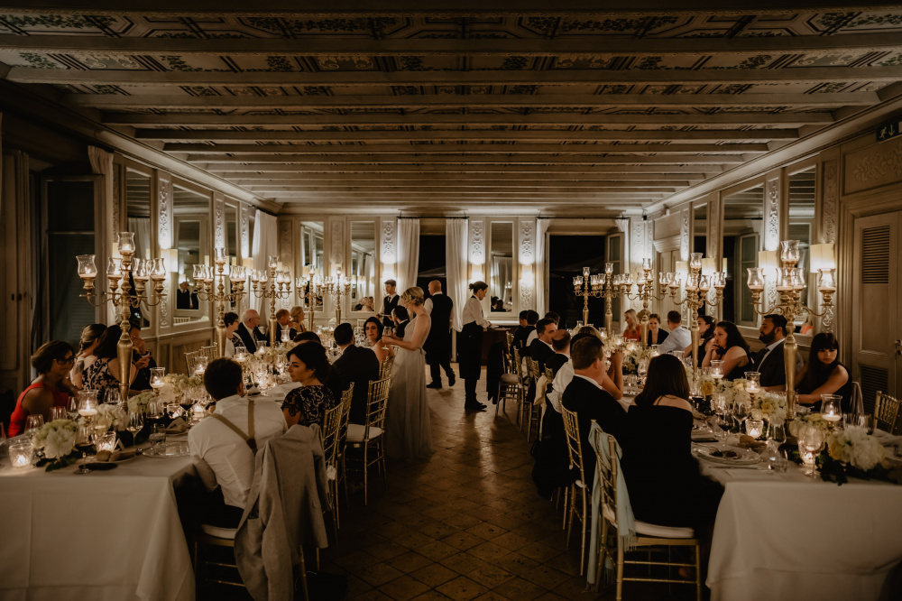 Wedding dinner in the ballroom in the Venue Wedding Rome