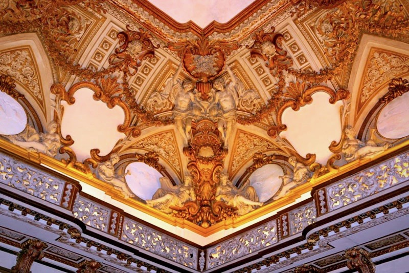 A detail of the beautiful ceiling frescoes in one of the elegant wedding halls in Rome
