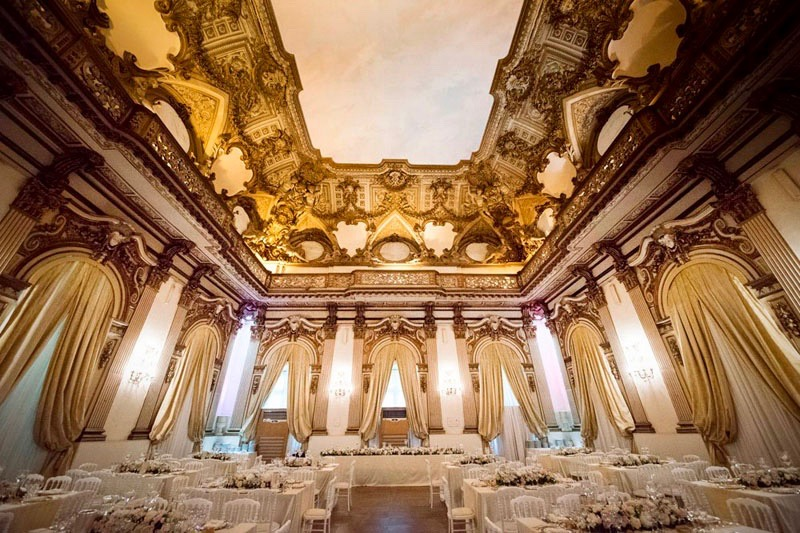 wedding reception set-up in elegant hall for stunning events. soft colour decors