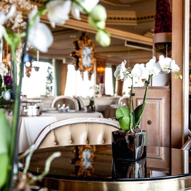detail of a centerpiece in main dining room for weddings with beautiful white orchids in Rome