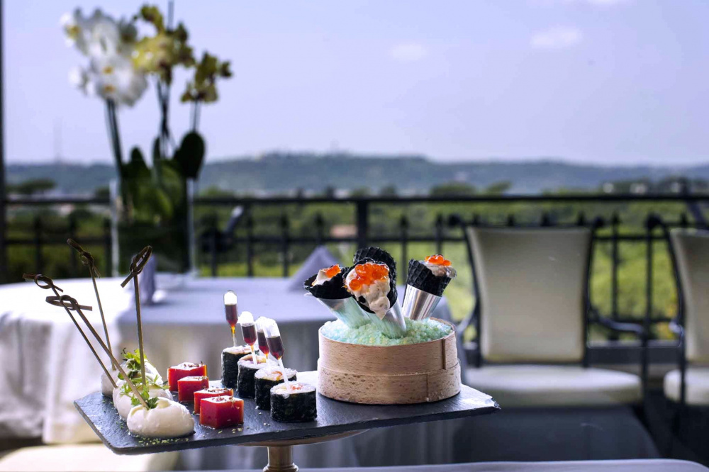 detail of gourmet appetizers at the open air terrace ideal for pre- wedding