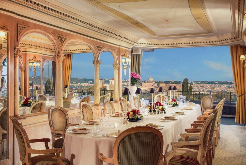 elegant private room for weddings sumptuous pale gold decor with terraceoverlooking magical rome