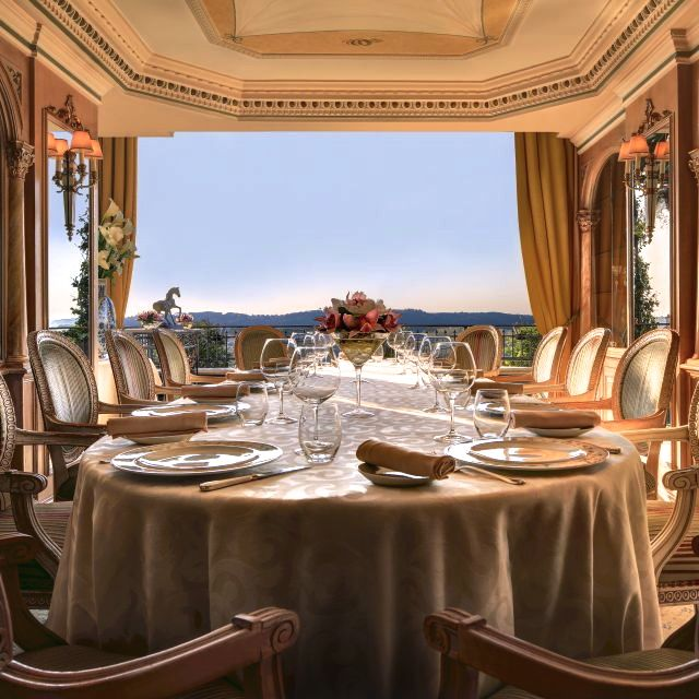 elegant private room for intimate wedding dinners with view long elegant table setting
