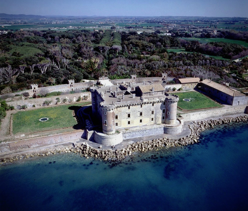 Sunning aerial view of a fairy tale castle for weddings near Rome, located by the thyrrenean coast