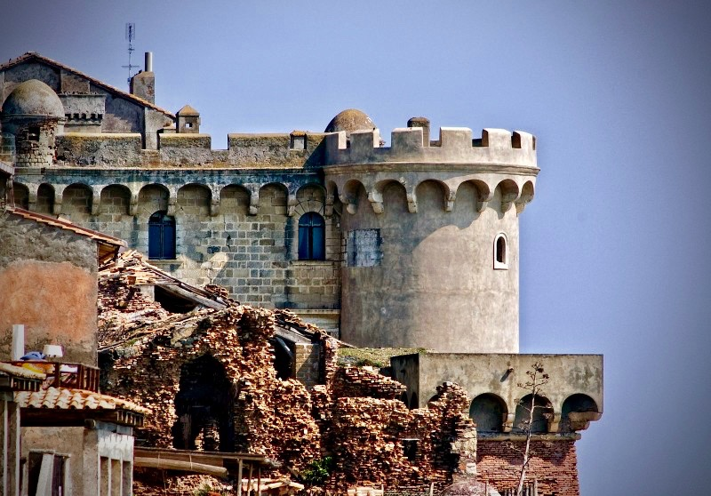 a detail of the historical defence tower of the medieval castle for weddings in Rome