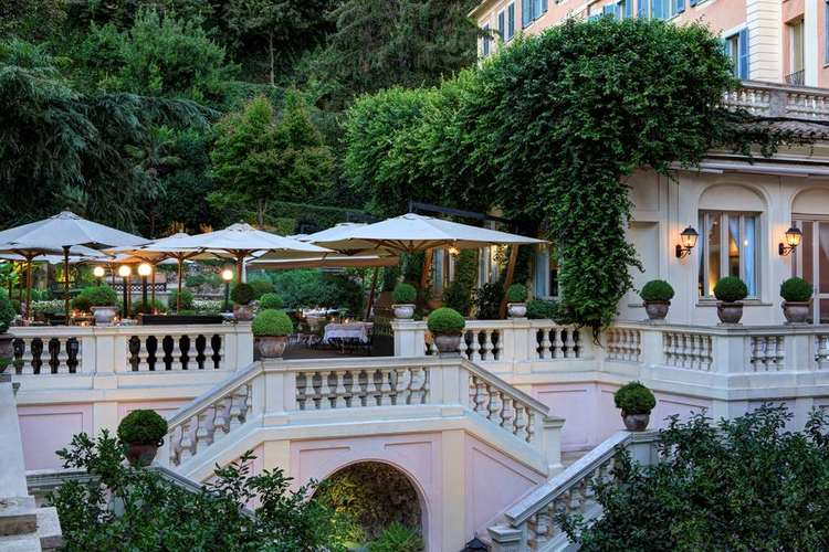 View of the terrace in Rome in a luxury hotel