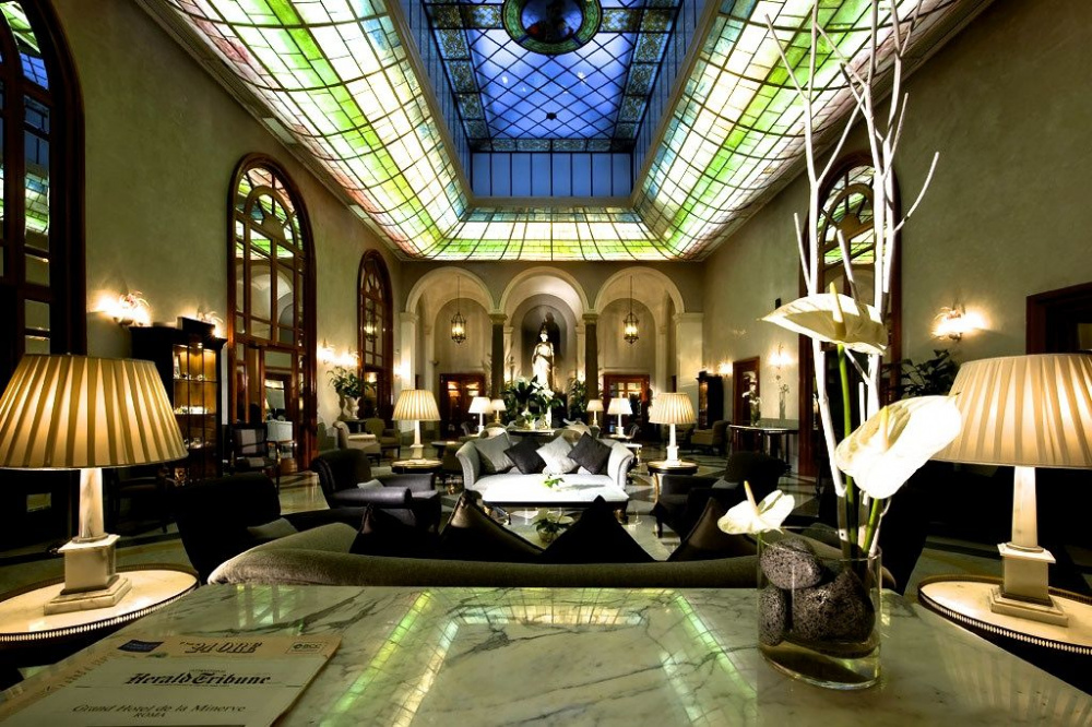 Luxury wedding hotel lobby fine and stylish decors liberty style coloured stained glass roof window