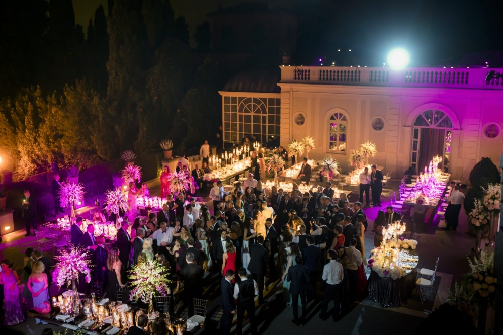 Luxury villa in Rome with a dancing party on the terrace