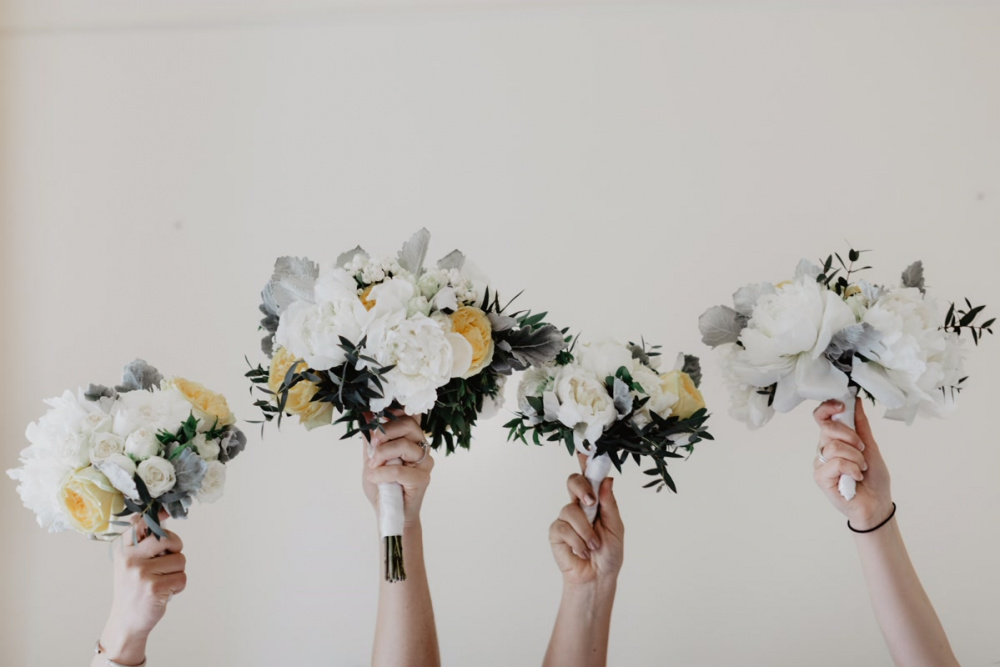 White and yellow flowers for bridal party bouquets for a wedding in Rome