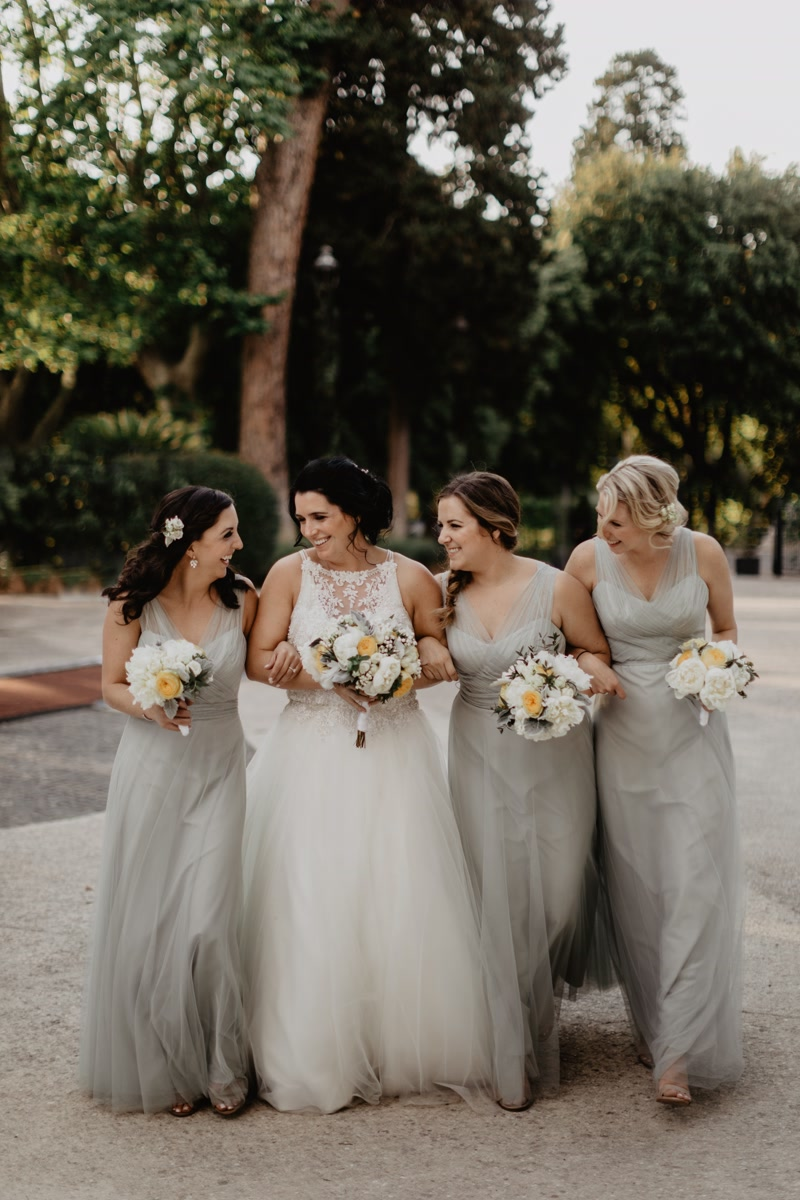 bride and bridesmaids after the ceremony