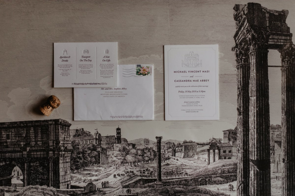 Stationery for a wedding in Rome