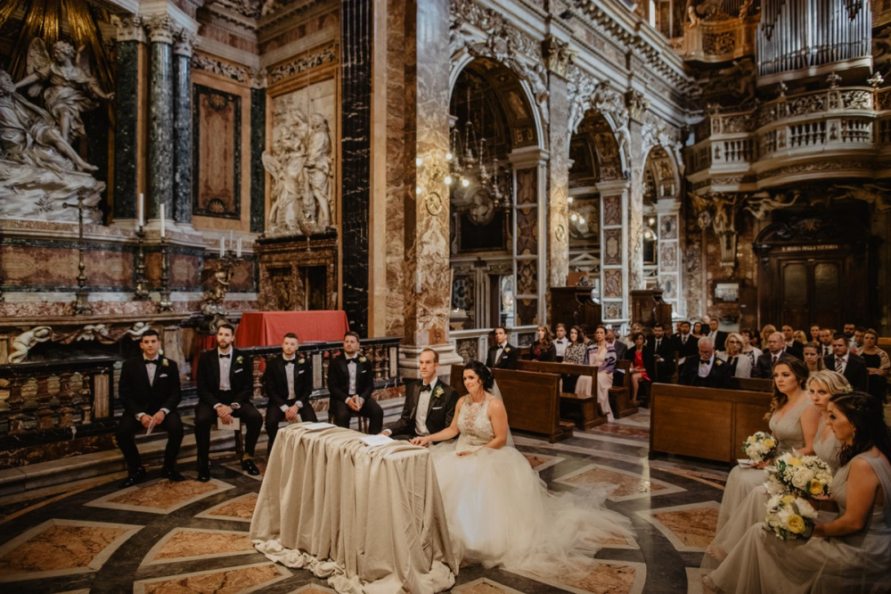 Catholic wedding in Rome with bridal party