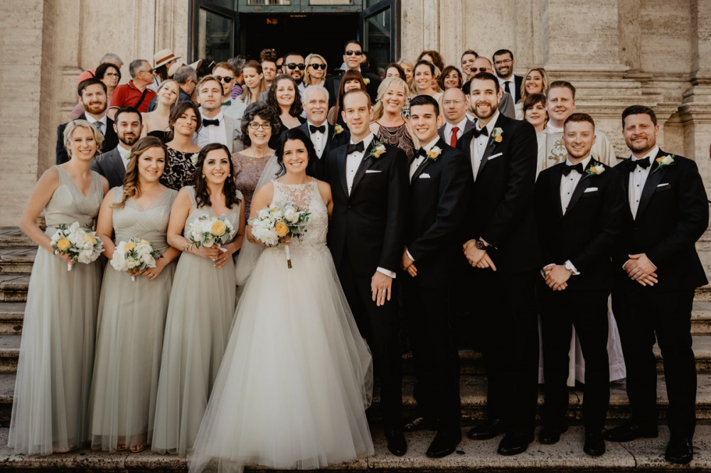 Group wedding photo in Rome
