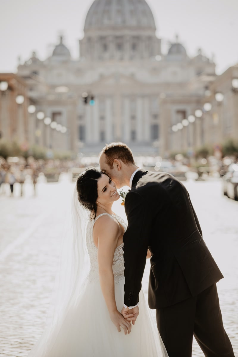 Bride and groom in Vatican Rome