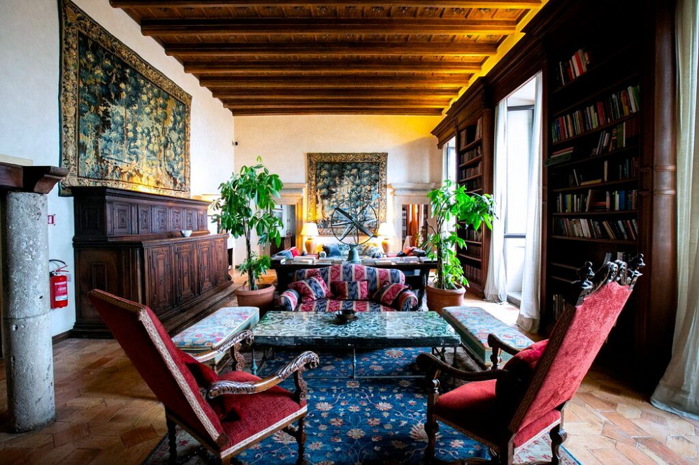 charming library room wood ceiling tappestries decors of the 15 17 th century mix with modern ones