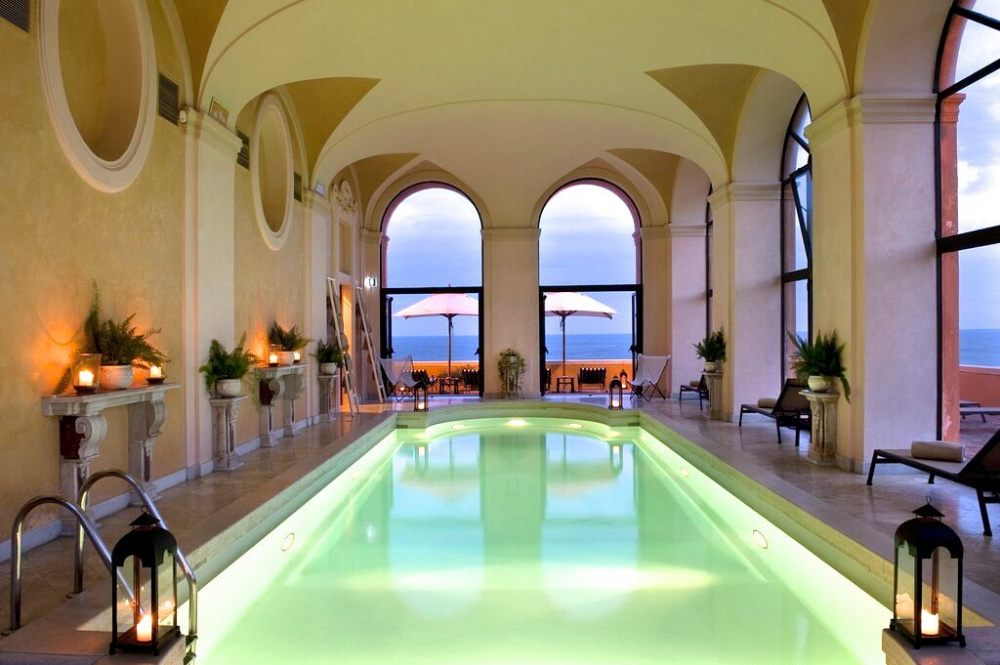 beautiful indoor swimming pool with sea view for some relax before wedding
