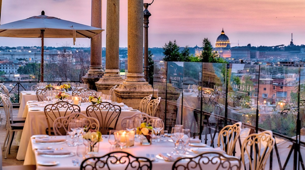 Terrace with view over Rome at the sunset