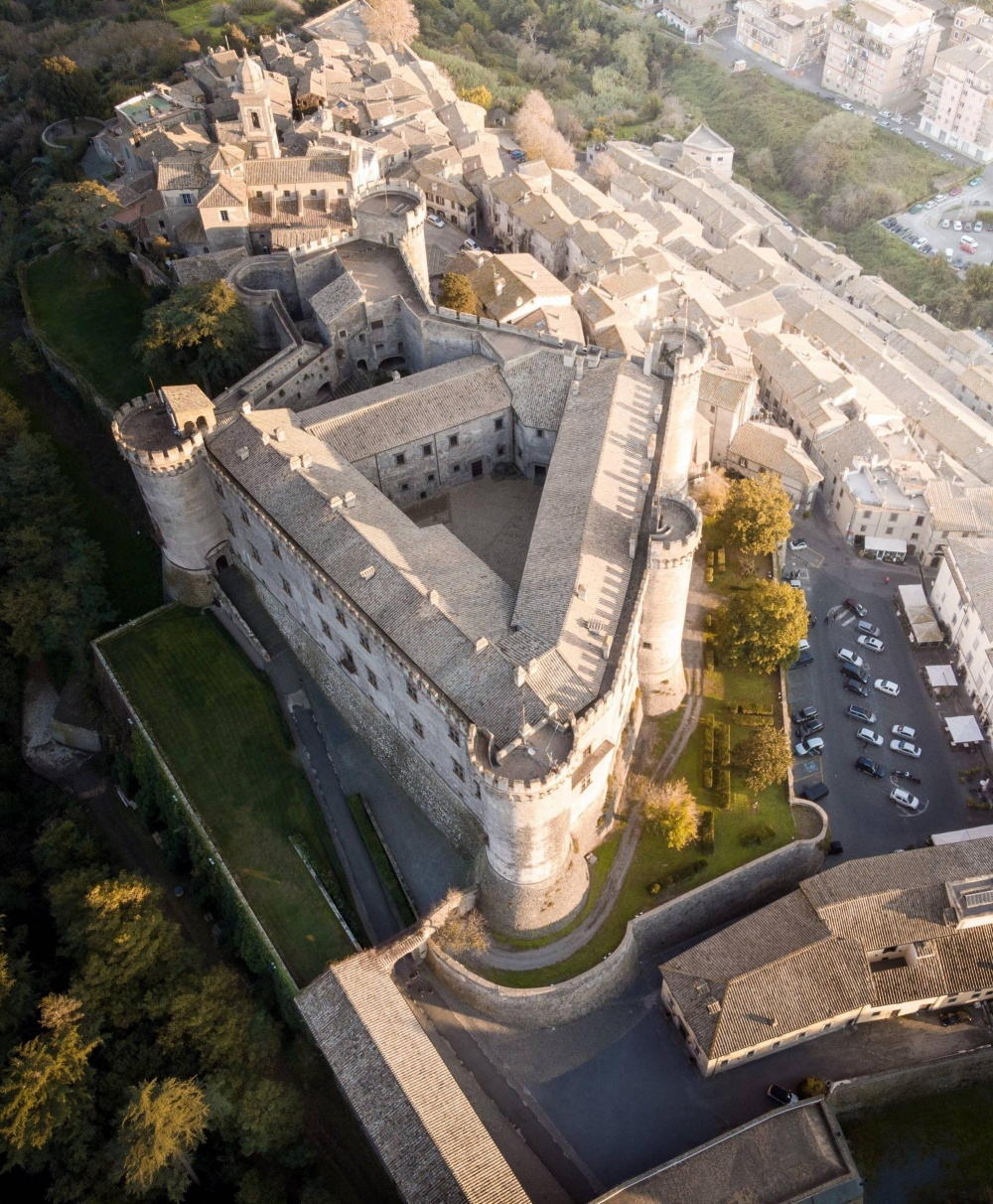 Areal view of the wedding castle in Rome