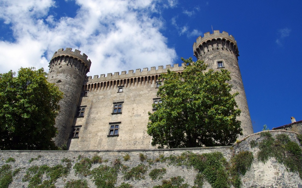 Medieval castle with two towers and terracea great setting for weddings