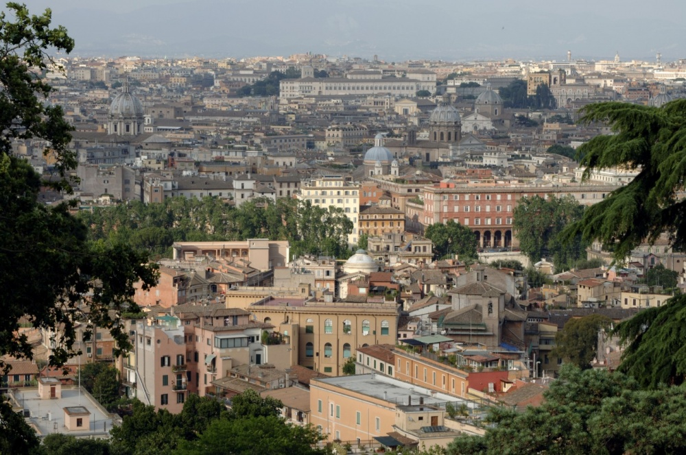 View of Rome city from the wedding villa in Rome
